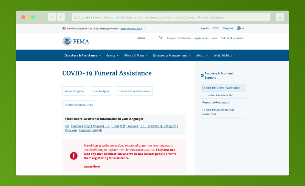 FEMA COVID-19 Funeral Assistance